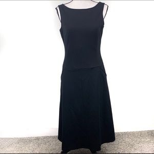 Spiegel Black Ponte Knit Tea Length Dress NWT 4